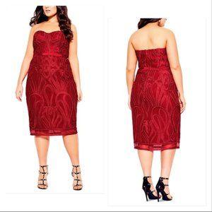 NWT City Chic Red Antonia Strapless Sheath Dress